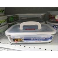 樂扣 耐熱玻璃保鮮盒 長方形2L超大容量(附收納提把設計) 全新品 特價$750元/個
