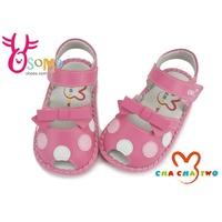 寶寶涼鞋 真皮鞋墊 台灣製 簍空 天鵝CHA CHA TWO學步鞋 G6235 桃紅 OSOME奧森鞋業