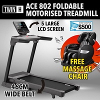Twin H ACE802 Motorised foldable treadmill 5 LCD Screen Multimedia Home Gym Professional Commercial