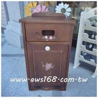 實木紫玫瑰手繪下拉式垃圾桶櫃