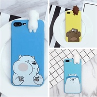 3D Cute Cartoon We Bare Bears brothers funny toys soft phone case for iphone