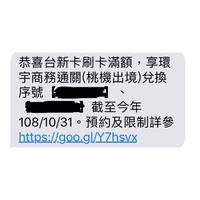 台新環宇商務通關(桃園出境)序號