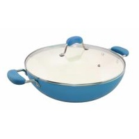 Blanc Wok Nano Ceramic 36cm Covered Wok with Double Stainless Steel Handles
