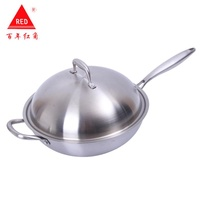 304 Stainless Steel No Coating Sootless Wok Physics Non-stick Pot Wok Three-layer Steel Wok