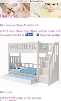 Like new, 10-month old Ibenma bunk bed with 3 Belgium Latex mattresses for $1500 only
