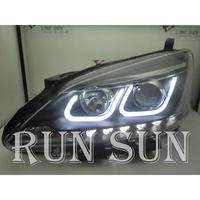 ●○RUN SUN 車燈,車材○● 全新日產 SUPER SENTRA AERO U型雙色黑框魚眼 大燈 方向燈 日行燈