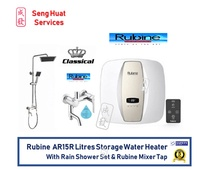 Rubine AR15R 15 Litres Storage Water Heater With Rain Shower Set And Rubine Mixer Tap
