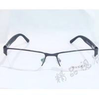古馳金屬半框眼鏡架 GUCCI碳纖維鏡腿眼鏡框 配近視眼鏡