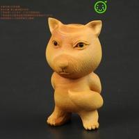 小葉黃楊木雕刻 藏狐 方臉狐貍 好吊的狐貍 手工成品手把掛件擺件