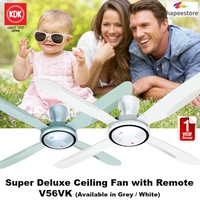 KDK Super Deluxe Ceiling Fan with Remote Control - V56VK (Available in Grey / White) 1 Yr Warranty