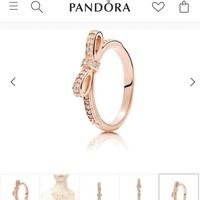 現貨 潘朵拉PANDORA 玫瑰金蝴蝶結戒指