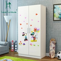 Louis Fashion Children's Wardrobes Small Family Closet Rental Room Modern Economy Type Two Simple Solid Wood Panel