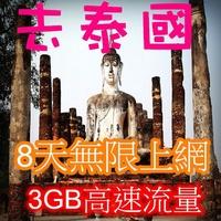 【聯網走動】春季遊旅展買來放【泰國8天無限上網卡3GB高速流量】神卡/SIM/網路卡/漫遊卡/旅遊卡