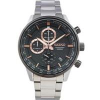 SEIKO 手錶 SSB331P1 精工表 編織紋錶盤 三眼計時日期 鋼帶 男錶