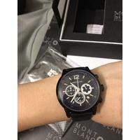 萬寶龍男士手錶 真三眼 日曆男款手錶 商務石英腕錶 皮帶手錶