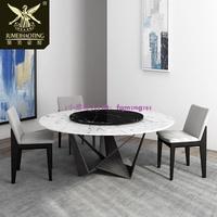 『小濃生活館』圓形餐桌家用簡約大理石圓桌工業風鐵藝圓餐桌帶轉盤家用吃飯桌子