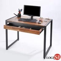 【LOGIS】LOGIS 木紋鋼鐵極簡時尚工業風工作桌(大抽屜 學習桌 電腦桌 辦公桌 書桌 主管桌 餐桌)
