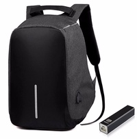 Milano Anti-Theft Backpack with Removable 2600MHa Powerbank - Black