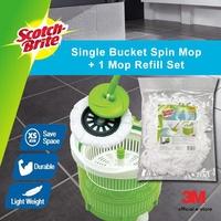 3M Scotch Brite Compact Single Bucket Spin Mop + 1 Mop Refill