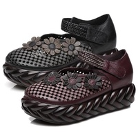 【Sp house】向陽園藝真牛皮網面透氣鬆糕淑女鞋(紅色黑色2色全尺碼)