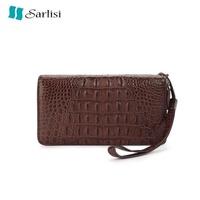 【Sarlisi】夏麗絲新款泰國鱷魚皮男士錢夾真皮長款錢包雙拉鏈手包商務手拿包