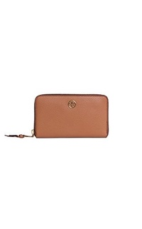 (Tory Burch) Tory Burch Wallet Robinson Pebbled Leather Zip Continental Wallet Tigers Eye-