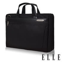 ELLE HOMME 第二代尼龍╳皮革雙拉鍊14吋筆電收納兩用公事包-黑 EL74165B