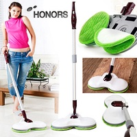 0 HONORS Electric Auto Twin Spin Wet Dual Mop Stick Rag Cleaner 889H