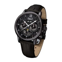 ARBUTUS AUTOMATIC AR905BBB STAINLESS STEEL BLACK LEATHER MENS WATCH