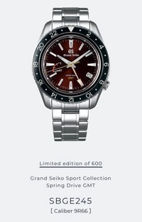 (Offer $7880!) Grand Seiko SBGE245 Spring Drive GMT Limited Edition of 600pcs
