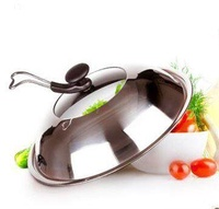 Thick Stainless Steel 32/34/36/38/40/42 Cm Pot Cover Visual Lie Universal Wok Pot Cover