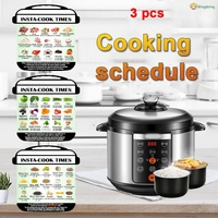 3Pcs Magnetic Cooking Schedule Cheat Sheet Food Cooking For Instant Pot