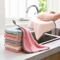 【超取499免運】可掛式珊瑚絨雙面抹布 廚房菠蘿紋不掉毛吸水擦手巾 素色洗碗布