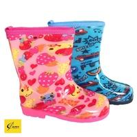 【CROWN JEWELS 皇力牌】兒童彩色雨鞋(環保無毒) 草莓熊/藍汽車