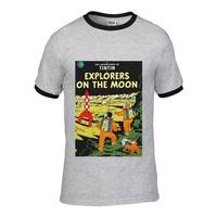 Lone The การผจญภัยของตินติน Explorers บนดวงจันทร์ 2019 เสื้อฤดูร้อนสำหรับชาย