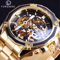 Forsining 2017 New Collection Transparent Case Golden Stainless Steel Skeleton Luxury Design Men Wat