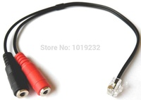 VoiceJoy RJ9 to dual 3.5mm Adapter PC Headset  RJ11 adapter 3.5mm to RJ9 adapter for Avaya 4610 4620 RJ9 Headset Adapter