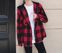 FINDSENSE Z1 韓國 時尚 潮 男 寬鬆拉鏈 連帽 黑紅格子 毛呢外套 格子外套
