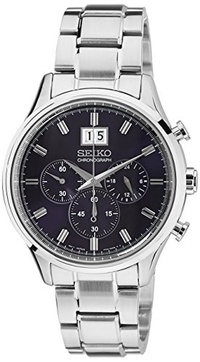 (Seiko) Seiko Chronograph Metallic Blue Dial Stainless Steel Mens Watch SPC081-Chronograph