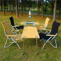 TNR優質三單位中號IGT料理組合桌竹桌戶外燒烤桌竹制折疊桌