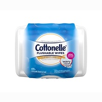 Cottonelle FreshCare Flushable Wipes Refill Tub, 42 Flushable Wet Wipes, Lightly Scented