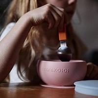 土耳其minikoioi-防滑矽膠吸盤碗-薔薇粉