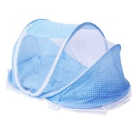 Foldable Baby Infant Mosquito Net with Cotton-padded Mattress and Pillow - Blue