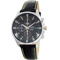 SEIKO手錶 精工表 SNDC89P2 黑面 日期 三眼計時 皮帶男錶