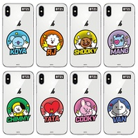 BTS BT21 NEW Official Merchandise-Comic Pops Clear Soft Phone Case for iPhone