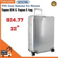 พลาสติกใสคลุมกระเป๋าแบบซิป เฉพาะแบรนด์ RIMOWA  Topas 924 &  Topas e-tag  / Travel Partner PVC for RIMOWA Topas 924 &  Topas e-tag Luggage Sets Cover Protector Clear PVC Suitcase Case Protective with Grey Zipper