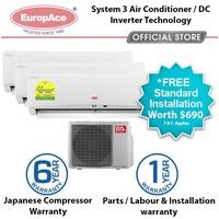 EuropAce 23000 Btu System 3 AirCon - 3 x 9000Btu - Free Standard Installation*