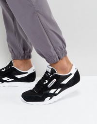 Reebok Classic Leather Nylon Sneakers In Black 6604