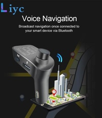 Liyc FM Transmitters Bluetooth V5.0 Aux Modulator Bluetooth Hands-free Car Kit Audio MP3 Player with QC3.0 2 USB Charger T15