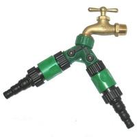 【灑水達人】美規銅製四分水龍頭轉接三種不同規格水管雙通開關球閥2入